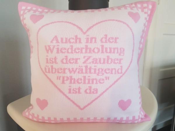 """Kissenhülle """"Herzenslieb"""" in 6 Farben mit Spruch ca. 40 x 40 cm"""