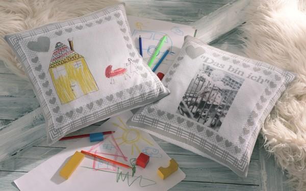 Kissenhülle aus Bio Baumwolle mit Foto und Text personalisiert