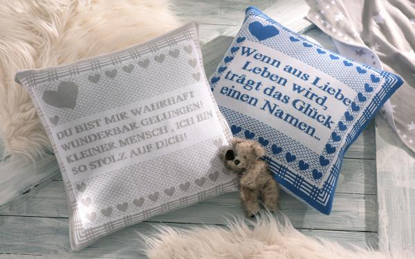 """Kissenhülle """"Kuschelmich"""" in 6 Farben mit Spruch ca. 40 x 40 cm"""