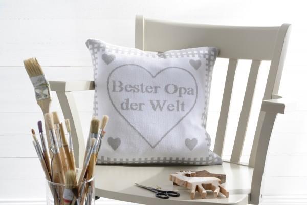 """Kissenhülle """"Herzelieb"""" in 6 Farben mit Spruch ca. 40 x 40 cm"""