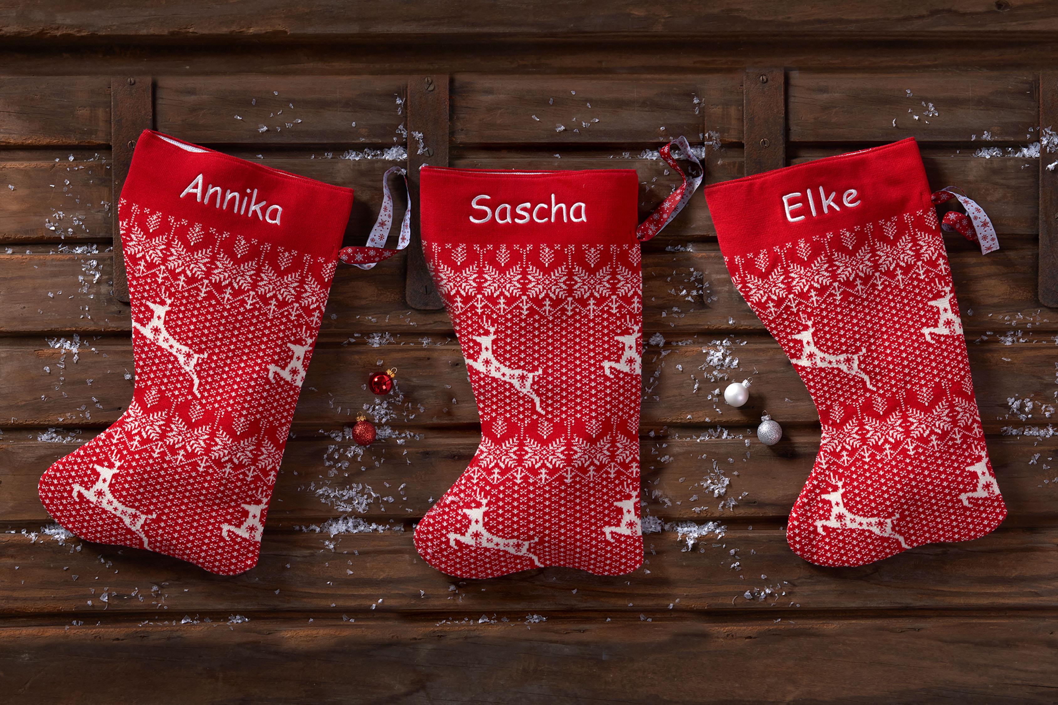 Weihnachtsstrumpf gestrickt aus 100% Biobaumwolle & liebevoll mit ...