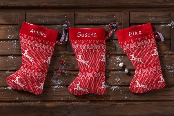 Personalisierte Weihnachtssocke mit Namen Baumwolle