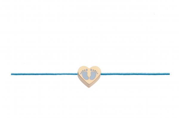 Armband Babyfuss Hellblau Roségold